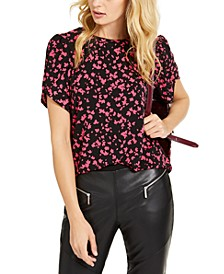Printed Petal-Sleeve Top, Regular & Petite Sizes