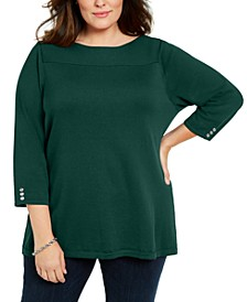 Plus Size Ribbed Ballet Neck Cotton Sweater, Created For Macy's