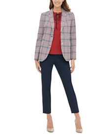 Tommy Hilfiger Plaid Blazer, Tie-Neck Top & Ankle Pants