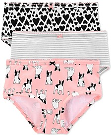 Little & Big Girls 3-Pk. French Bulldog Underwear