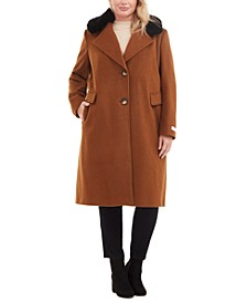 Plus Size Single-Breasted Faux-Fur Walker Coat