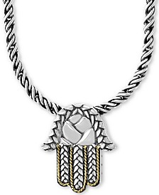 "EFFY® Hamsa Hand 17"" Pendant Necklace in Sterling Silver & 18k Gold"
