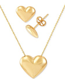 "2-Pc. Set Polished Heart 17"" Pendant Necklace & Matching Stud Earrings Set in 10k Gold"