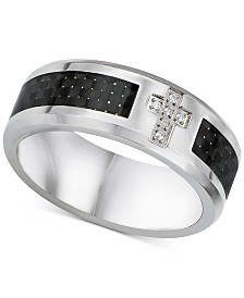 Men's Diamond Accent & Carbon Fiber Band in Sterling Silver & Stainless Steel