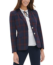 Elbow-Patch Plaid Blazer