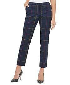 Windowpane-Print Ankle Pants