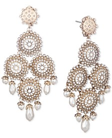 Marchesa Gold-Tone Imitation Pearl & Crystal Chandelier Drop Earrings