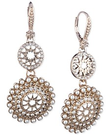 Gold-Tone Imitation Pearl & Crystal Star Double Drop Earrings