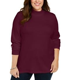 Karen Scott Plus Size Cotton Mock Neck Sweater, Created For Macy's