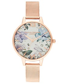 Women's Bejeweled Florals Rose Gold-Tone Stainless Steel Mesh Bracelet Watch 34mm