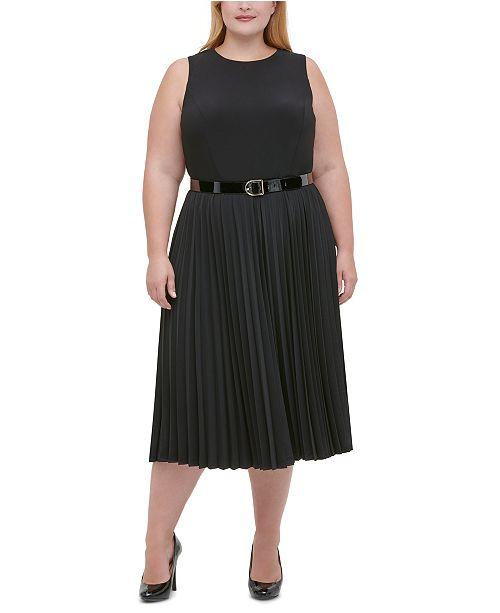 Plus Size Jersey Pleated Midi Dress