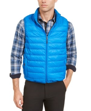 Hawke & Co. Outfitter Men's Packable Down Blend Puffer Vest In Victoria Blue