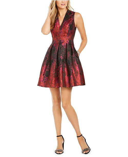 Vince Camuto V-Neck Shine Fit & Flare Dress