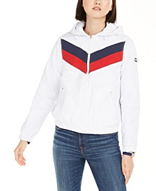 Varsity-Stripe Hooded Jacket