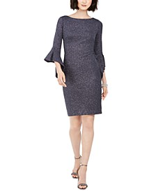 Metallic Bell-Sleeve Sheath Dress