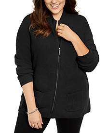 Plus Size Knit Zip-Up Sweater, Created For Macy's