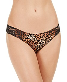 INC Lace-Trim Leopard-Print Thong Underwear, Created for Macy's
