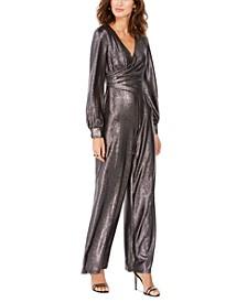 Petite Metallic Wrap Jumpsuit