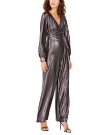 Adrianna Papell Petite Metallic Wrap Jumpsuit