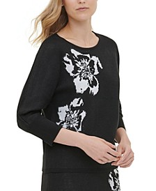 Printed Short-Sleeve Sweater