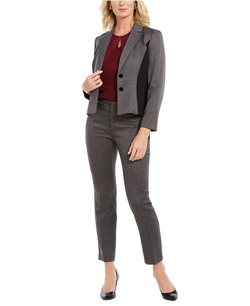 Kasper Side-Contrast Blazer, Keyhole Top & Herringbone Pants