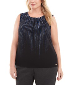 Calvin Klein Plus Size Printed Pleated-Neck Top
