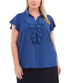 Calvin Klein Plus Size Ruffle-Front Flutter-Sleeve Blouse