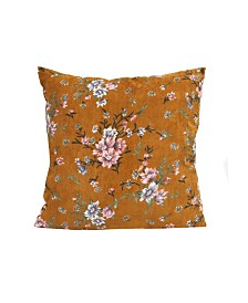 Stratton Home Decor Mustard Floral Corduroy Pillow