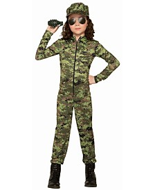 BuySeasons Girl's Army Girl with Hat Child Costume