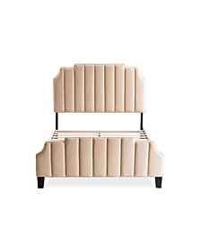 Gold Sparrow Diana Upholstered Channel Tufted Bed, Queen