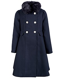 Big Girls Double-Breasted Swing Coat With Removable Faux-Fur Collar