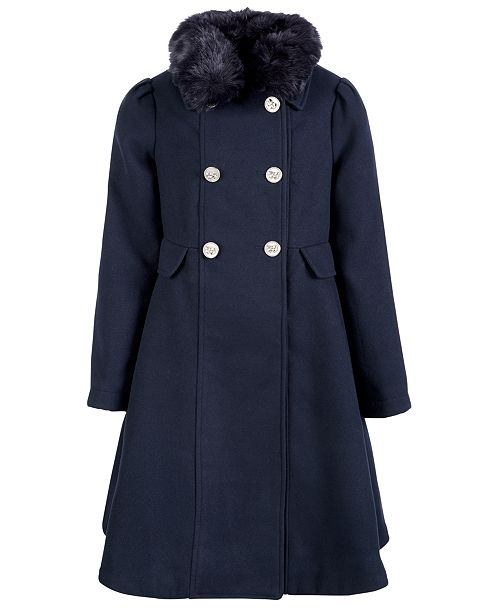 S Rothschild & CO Big Girls Double-Breasted Swing Coat With Removable Faux-Fur Collar