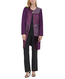 Calvin Klein Collarless Mixed-Media Coat