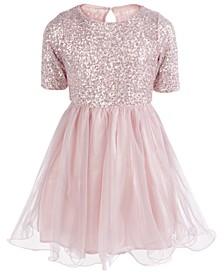 Big Girls Sequined & Taffeta Dress