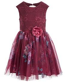 Big Girls Lace & Mesh Floral Dress