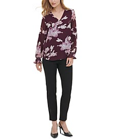 Floral-Print Blouson-Sleeve Blouse