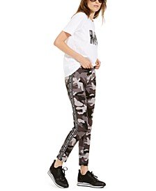 Camo-Print Logo Cotton T-Shirt & Side Logo Leggings