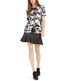 Camo-Print Top & Denim Flounce-Hem Skirt