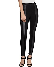 Faux-Leather-Trim Moto Leggings