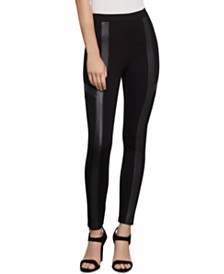 BCBGMAXAZRIA Faux-Leather-Trim Moto Leggings