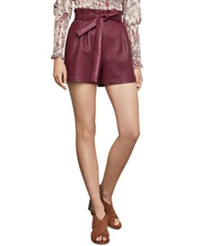 BCBGMAXAZRIA Faux-Leather Paperbag Shorts