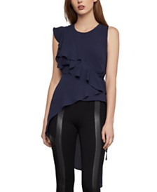 BCBGMAXAZRIA Ruffled High-Low Peplum Top