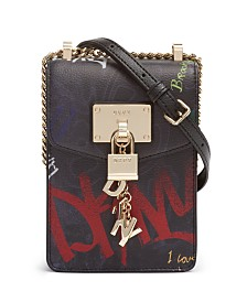 DKNY Elissa Graffiti Logo North-South Leather Crossbody, Created for Macy's
