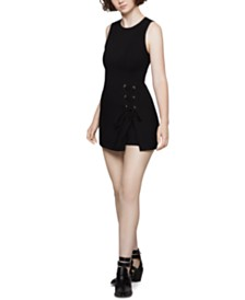 BCBGeneration Lace-Up Overlay Romper