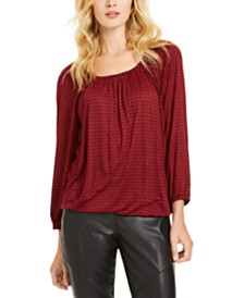 Michael Michael Kors Dot-Print Peasant Top, Regular & Petite Sizes