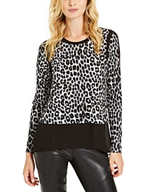 Chiffon-Hem Leopard-Print Top, Regular & Petite Sizes