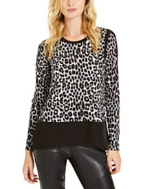 Michael Michael Kors Chiffon-Hem Leopard-Print Top, Regular & Petite Sizes