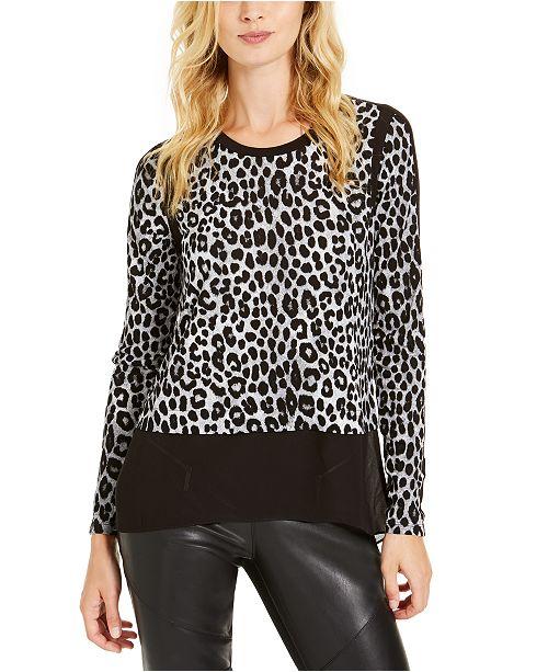 Michael Kors Chiffon-Hem Leopard-Print Top, Regular & Petite Sizes