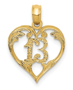 13 in Heart Pendant in 14k Yellow Gold