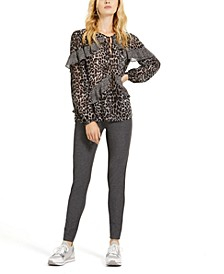 Mixed Leopard-Print Top & Pull-On Pants